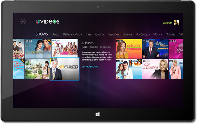 UVideos iPad Application Category Screen